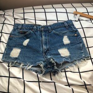 Levi Distressed Vintage Denim Shorts